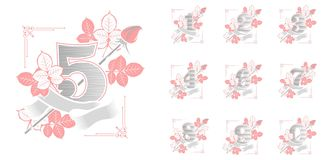 Set of flower numbers. Vector illustration collection of numbers on white background numbers decorated with roses flowers and leaves Royalty Free Stock Photography