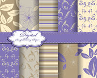 Set of flower  paper. For scrapbook Royalty Free Stock Photography