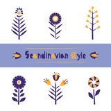 Set Flower pattern in Scandinavian style, stylization of torn paper edge. Beautiful template for decoration design. Vector illustration isolated on white Stock Photo