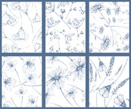 Set of flower pattern. Set of seamless patterns with hand drawn flowers Royalty Free Stock Photos