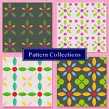 Set of 4 flower patterns background no line colorful vector stock illustration