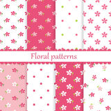Set of flower seamless patterns Stock Image