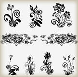 Set of flower silhouettes. Stock Photography