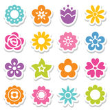 Set of flower stickers in bright colors Stock Photos