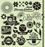 Set of flower symbols, icons and signs Royalty Free Stock Image
