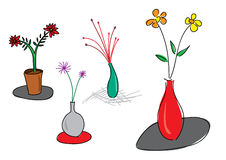 Set of flower vase illustration Stock Image