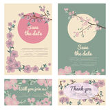 Set of flowering hand drown cherry blossom card. Vintage background Stock Image