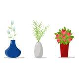 Set Flowerpots dla Domowego wnętrza Dekoracyjny kwiat I wazy Obrazy Royalty Free