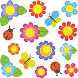 Set of flowers. Vector flowers, butterflies and ladybugs Stock Photo
