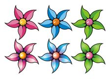 Set of flowers. In vector Royalty Free Stock Image