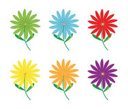Set of flowers. With different color on white background - vector illustration Stock Photos