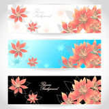 Set Flowers banners on white blue black background Stock Images