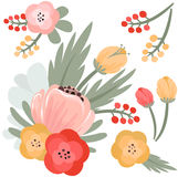 Set of  flowers and berries Royalty Free Stock Photo