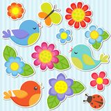 Set of flowers and birds. Vector flowers, birds, butterfly and ladybug Royalty Free Stock Photo