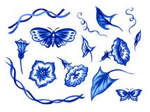 Set of flowers, buds, stems and leaves of bindweed and butterflies, blue watercolor illustration