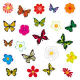 A set of flowers and butterflies Royalty Free Stock Photo
