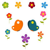 set of flowers and butterflies Stock Image