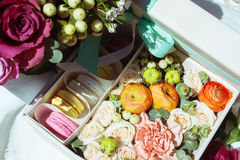 Set of flowers and cake Stock Image