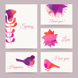 Set of flowers card, watercolor technique. Vector cards design. Royalty Free Stock Image