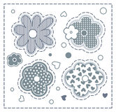 Set of flowers. Set of cute cartoon monochrome flowers Royalty Free Stock Images