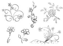 Set of flowers - elements - vector Royalty Free Stock Image