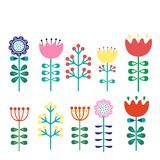 A set of flowers in the Finnish picture of folk art-Nordic, Scandinavian style. Vector illustration Stock Photos