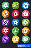 Set of Flowers Flat Design Stock Photography