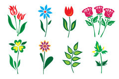 Set of flowers in flat style, icons, vector illustration Royalty Free Stock Photography