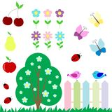 Set of flowers, fruits, butterflies, birds Royalty Free Stock Photos