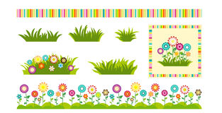 Set of flowers and grass design elements for greeting cards and labels. Royalty Free Stock Photos