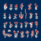 Set of flowers and hearts stickers. Hand drawn black, red and white floral elements stock photo