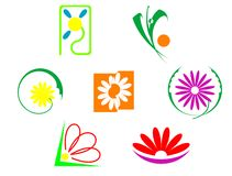 Set of flowers icons Royalty Free Stock Photos