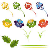 Set of flowers and leaves. Collection of different flowers and leaves on white. Vector Royalty Free Stock Photos