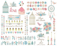 Set of flowers, leaves, feathers pink, green and blue colors. Vector set of flowers, leaves, feathers in tender pink, green and blue colors. Hand drawn cages Royalty Free Stock Photo