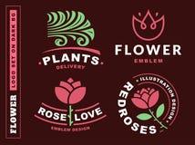 Set flowers logo - vector illustration, emblem on dark red background. Set flowers logo - vector illustration, emblem design on dark red background Stock Photos
