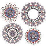 Set of flowers - mandalas. Ornamental round floral pattern. Vector Stock Photography