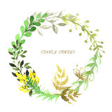 Set of flowers painted in watercolor on white. Paper.  Wreath Stock Photography