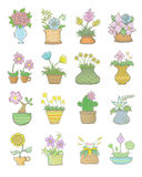Set Of Flowers Pots. Drawing it with my hand on the pen-tablet royalty free illustration