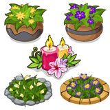Set of flowers in pots, flower beds and candles Royalty Free Stock Photos