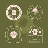 Set of flowers shop labels and design elements. Vintage collection of different gardeners elements. Gardeners and flowers objects. Vector elements for design Royalty Free Stock Image