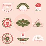 Set of flowers shop labels and design elements. Vintage collection of different gardeners elements. Gardeners and flowers objects. Vector elements for design Stock Photo