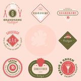 Set of flowers shop labels and design elements. Vintage collection of different gardeners elements. Gardeners and flowers objects. Vector elements for design Stock Photography