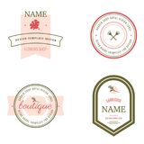 Set of flowers shop labels and design elements. Vintage collection of different gardeners elements. Gardeners and flowers objects. Vector elements for design Stock Image