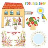 Set for flowers shop - vase, bunchs, frames, Stock Photo