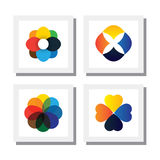 Set of flowers in various bright colors - vector icons Royalty Free Stock Photography
