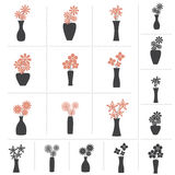 Set of Flowers in Vase Collection Stock Photo