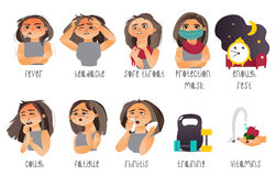 Set of flu symptoms and ways to prevent illness Stock Image