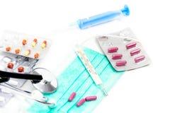 Set for flu treatment - health and medicine concept Stock Photos