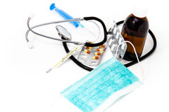 Set for flu treatment - health and medicine concept Royalty Free Stock Images