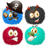 Set of fluffy balls with emoticons Royalty Free Stock Photography